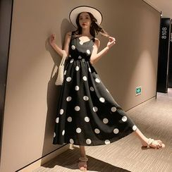 Bornite - Dotted Sleeveless Midi A-Line Dress