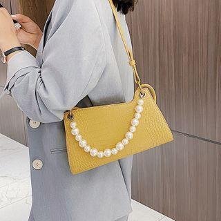 MISS RETRO - Croc Grain Faux Pearl Shoulder Bag