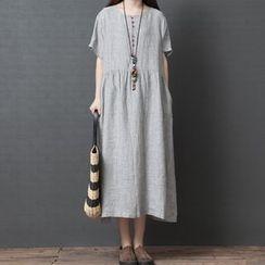 Liveat - 短袖條紋連衣中裙