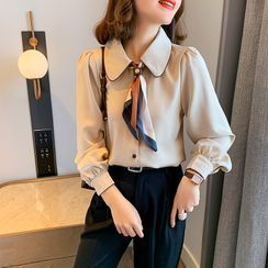 SUMMO - Tie Neck Shirt