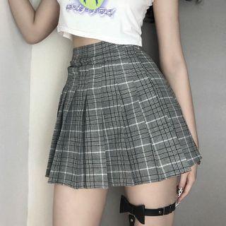 LINSI - Plaid Pleated Mini A-Line Skirt