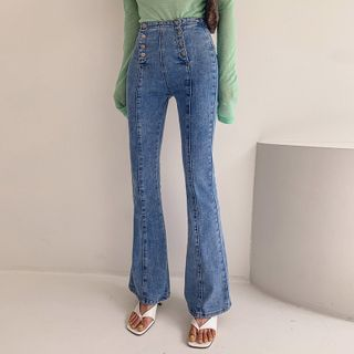 LIPHOP - Button-Fly Boot-Cut Jeans