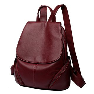Mayanne - Genuine Leather Plain Backpack