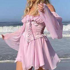 Honet - Bell-Sleeve Mini Dress / Corset Belt