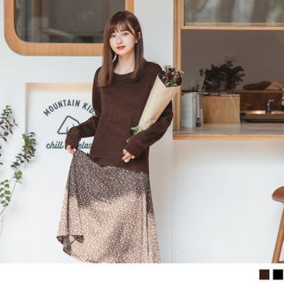 OrangeBear - 柔美印花假兩件拼接細針織輕暖洋裝