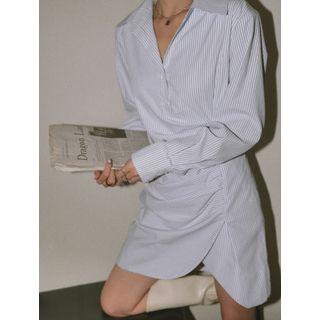 Dawnza - Striped Mini Shirt Dress