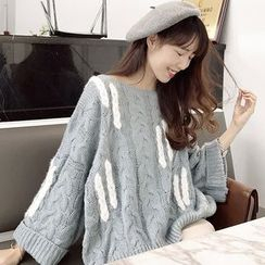 ANLI - Cable Knit Wide-Sleeve Sweater