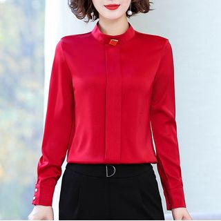 In the Mood - Mock-Turtleneck Chiffon Blouse