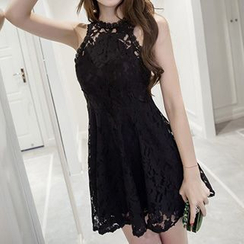 Fashion Street - Halter Sleeveless Lace Dress