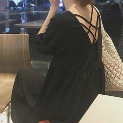 Omolon - Elbow-Sleeve A-Line Midi Dress