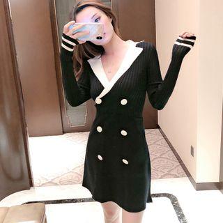 Mon Mon Muffy - Long-Sleeve Mini A-Line Knit Dress