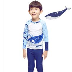 Aqua Wave - Kids Print Long-Sleeve Rashguard  / Swim Pants / Swim Goggles / Ear Plugs / Nose Clip / Drawstring Organizer Bag / Swim Cap / Set