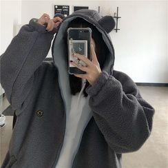 Shineon Studio - 熊耳朵抓毛拉鏈連帽衫