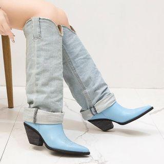 Weiya - Denim Pointed Tall Boots