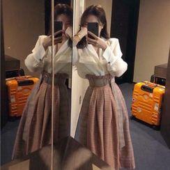 Apotheosis - Set: Pocketed Blouse + High Waist Plaid Midi A-Line Skirt