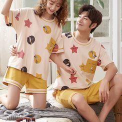 Lion Sniff - Couple Matching Print Short Sleeve Pajama Set