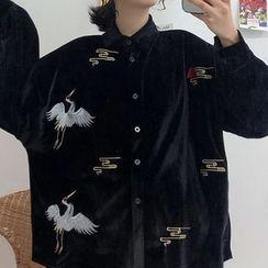 Omolon - Couple Matching Embroidered Crane Velvet Shirt