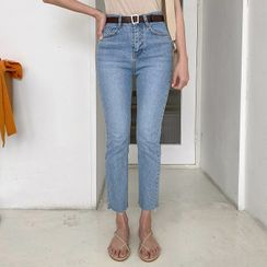 MERONGSHOP - Washed Straight-Cut Jeans