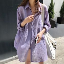 Fashion Street - 宽松纯色衬衫