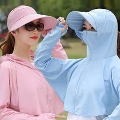 Kalamate - Plain Sun Protection Hooded Long-Sleeve Top