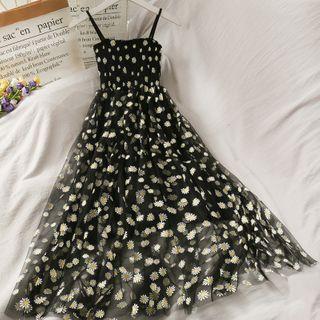 Lemongrass - 小雏菊褶皱网纱吊带连衣长裙