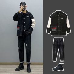 Avilion(アヴィリオン) - Two-Tone Loose-Fit Jacket / Long-Sleeve Two-Tone T-Shirt / Distressed Jeans