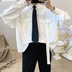 Avilion - Set: Long-Sleeve Plain Shirt + Tie