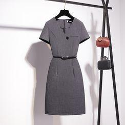 MARGOT - Short-Sleeve Belted Mini Shift Dress
