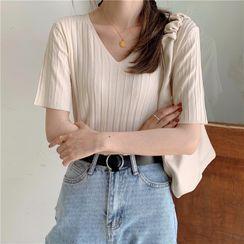 Hanji - 短袖羅紋針織上衣