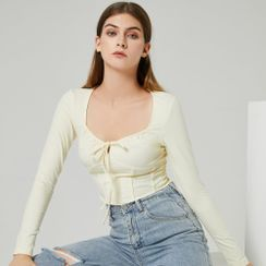 YS by YesStyle - Eco-Friendly Long-Sleeve Lace-Up Crop Top