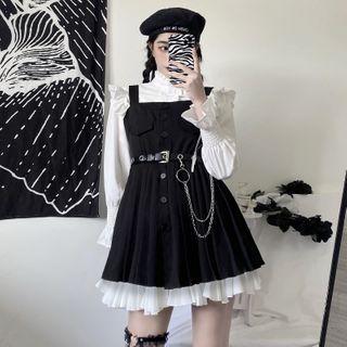 Malnia Home - Long Sleeve Frill Trim Shirt / Ruffled Mini A-Line Skirt / Mini Overall Dress