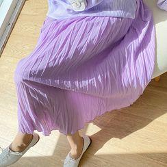 Lemite - Waistband Crinkled Maxi Skirt