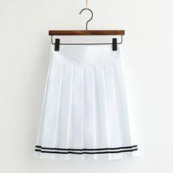 College Affair - Plain Pleated Mini Skirt