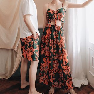 AITE - Couple Matching Floral Tankini Top / Swim Bottom / Floral Skirt  / Short-Sleeve T-Shirt / Beach Shorts / Push-Up Bra / Set