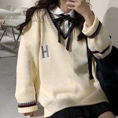 Shinsei - Pocket Detail Shirt / Letter Embroidered V-Neck Sweater