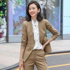 Skyheart - 双排扣西装外套 / 长袖衬衫 / 修身裙 / 西裤 / 套装