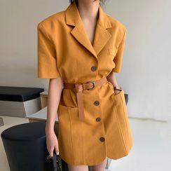 Coris - Short-Sleeve Single Breasted Coat Dress