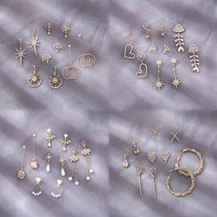 Gold Beam - 五件套装: 水钻耳坠
