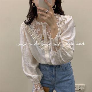 Lianne - Long-Sleeve Lace Panel Blouse