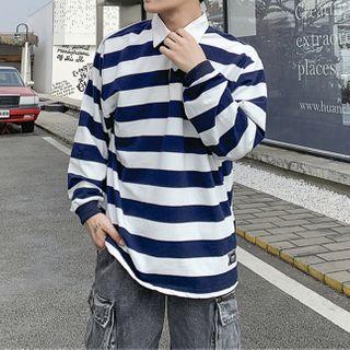 Turazin - Striped Long-Sleeve Polo Shirt