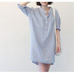 Smooch(スムーチ) - Stand-Collar Striped Mini Shirtdress