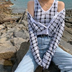 KARLY - Plaid Cardigan / Cropped Tank Top