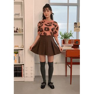 chuu - Inset Shorts Box-Pleat Miniskirt