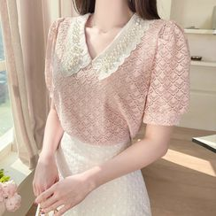 MyFiona - Faux-Pearl Collared Lace Top