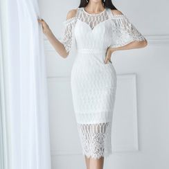 Maine - Cutaway-Shoulder Lace Sheath Dress
