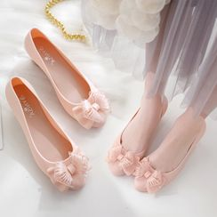 Chic Kingdom - 花朵细节船跟鞋