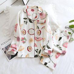 Dogini - Pajama Set: Printed Long-Sleeve Top + Pants