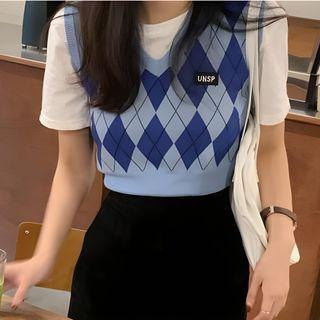 monroll - Crop Short-Sleeve T-Shirt / Argyle Print Knit Sweater Vest
