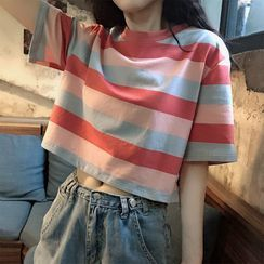 TIANNY - Striped Short-Sleeve Cropped T-Shirt
