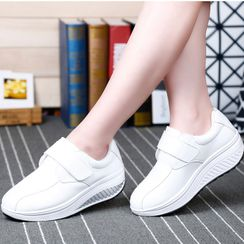 MINIKA - Faux Leather Platform Wedge Adhesive Strap Sneakers